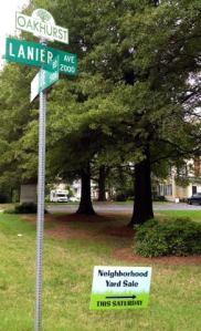 Monroe Road, Lanier & Yard Sale Sign